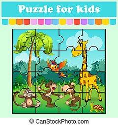 vector, juego, color, preschool., kids., caricatura, worksheet., page., aislado, rompecabezas, adivinanza, illustration., animales, educación, style., meadow., actividad