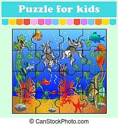 vector, juego, color, preschool., kids., caricatura, worksheet., page., aislado, sea., rompecabezas, pez, adivinanza, illustration., educación, style., actividad
