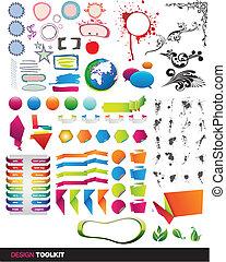 vector, juego herramientas, elementos, designer's