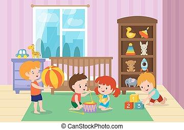 vector, juego, ilustración, jardín de la infancia, playroom, juguetes, niños