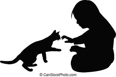 vector, juego, niña, silueta, gato