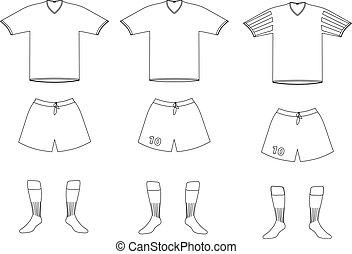 vector, jugador, uniforme del fútbol
