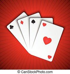 Vector jugando a las cartas en el fondo rojo