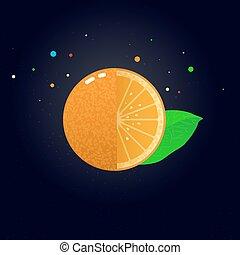 Vector jugoso naranja rebanada, ilustración vectorial.