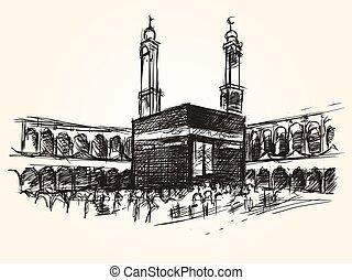 vector, kaaba, simbólico, edificio, santo, dibujo, hajj, islam, peregrinación, bosquejo