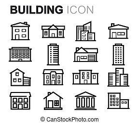 Vector línea negra construyendo iconos