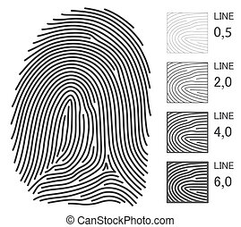 vector, líneas, huella digital