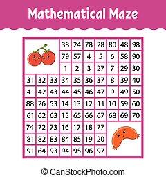vector, labyrinth., color, worksheet., educación, actividad, characters., maze., kids., cuadrado, juego, illustration., número, children., rompecabezas, page., matemático, caricatura