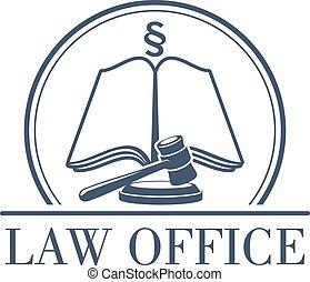 Vector legal de vectores de la oficina de leyes icono de martillo y código