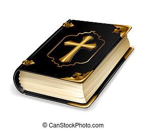 vector, libro, santo