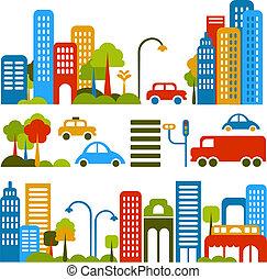 vector, lindo, calle, ilustración, ciudad