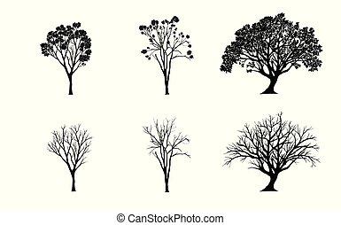 Vector listo. Siluetas de árboles sobre fondo blanco. Ilustración.