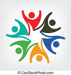 Vector logotipo gente feliz
