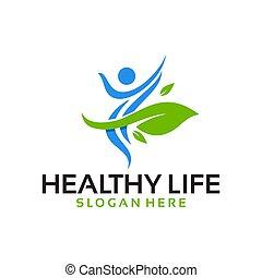 vector, logotipo, vida, sano
