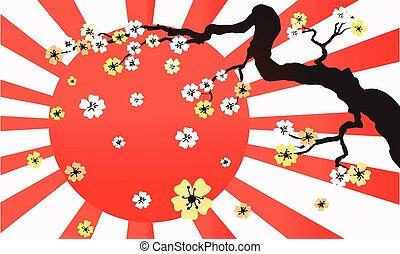 vector, luz del sol, flor, de par en par, retro, sakura, horizontal, plano de fondo