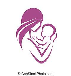 vector, madre, símbolo, estilizado, icono, bebé