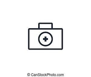 vector, maleta, atención sanitaria, ilustración, plantilla, logotipo, médico, diseño, icono