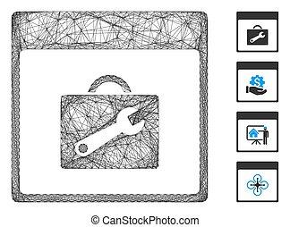 vector, malla, lineal, calendario, página, caja de herramientas