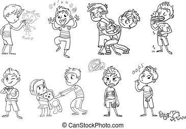 vector, malo, ilustración, caricatura, character., divertido, behavior.