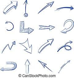 vector, mano, dibujado, curvo, flechas