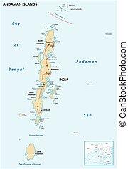 vector, mapa, andaman, islas, indio, archipiélago
