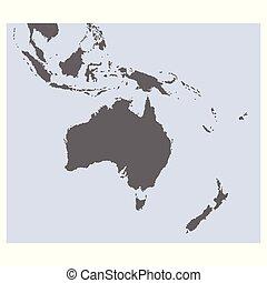 vector, mapa, oceanía, australia, político