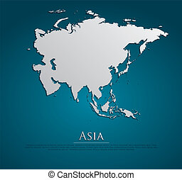 vector, mapa, papel, asia, tarjeta