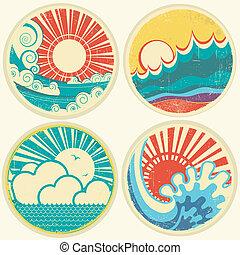 vector, mar, sol, waves., vista marina, iconos, vendimia, ilustración