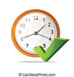 vector, marca, cheque, icono, reloj