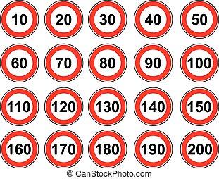Vector marca el límite de velocidad
