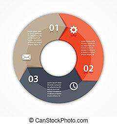Vector marca flechas informativas diagrama 3 opciones