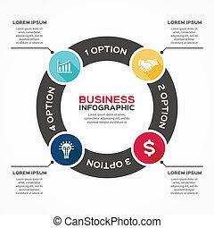 Vector marca flechas informativas diagrama 4 opciones