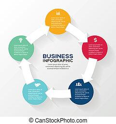 Vector marca flechas informativas diagrama 5 opciones