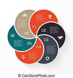 Vector marca flechas informativas diagrama 6 opciones