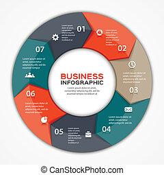 Vector marca flechas informativas diagrama 7 opciones