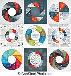 Vector marca flechas informativas diagrama 8 opciones
