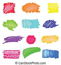 vector, marcador, conjunto, coloreado, puntos