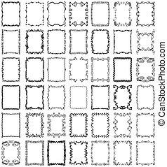 vector, marcos, fronteras, conjunto, colección