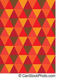 vector, marrón, azulejos, diamante, triángulo, y, shapes-, patrón, graphic., repetitivo, esto, seamless, ilustración, naranja, colores, hecho, plano de fondo, consiste, geométrico, mosaico, rojo