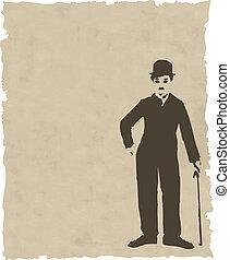 Vector marrón silueta en papel viejo