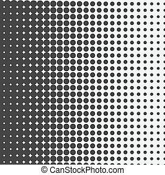 Vector medio punto. Puntos negros sobre fondo blanco.
