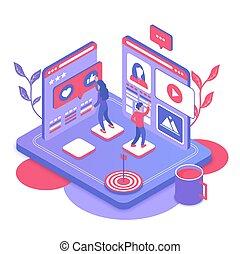 vector, mercadotecnia, social, isométrico, medios, ilustración