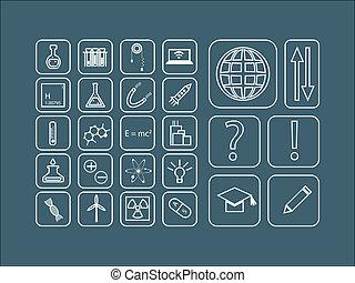Vector moderno de iconos de línea delgada para la ciencia