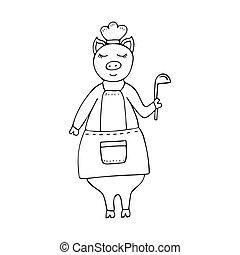 Vector monocromo dibujado a mano cocinero divertido cerdo vestido con un delantal y un cucharón.