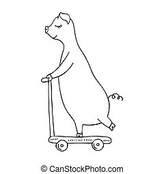 Vector monocromo dibujado a mano de un cerdo montando en una scooter.