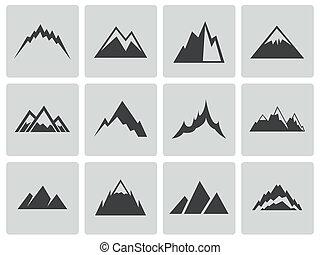 vector, montañas, conjunto, negro, iconos