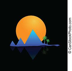 Vector Mountains sol y palmas de logo