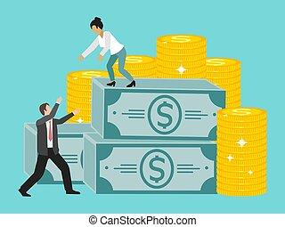 vector, mujer de negocios, paquete, collaboration., subida, repartir, porción, illustration., colega, asideros, ella, empresa / negocio, dinero