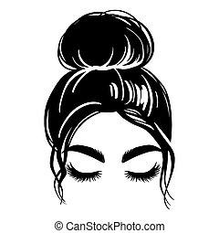 vector, mujer, hermoso, pelo, desordenado, hembra, dibujo, bollo, silhouette., illustration., hairstyle., niña