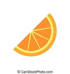 vector, naranja, ilustración, rebanada